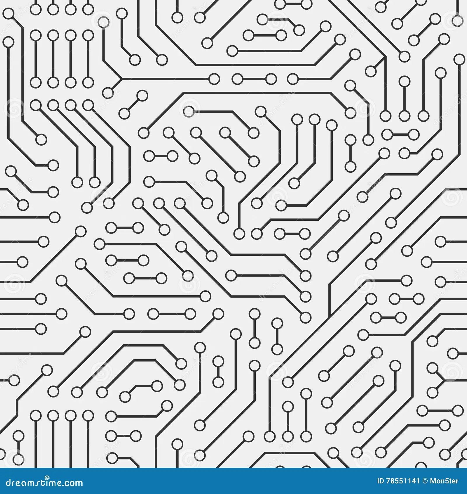 Computer Circuit Board Seamless Pattern Stock Vector