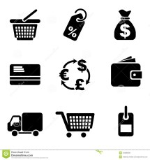 Computer Commerce Icons Stock Vector. Illustration Of Icon