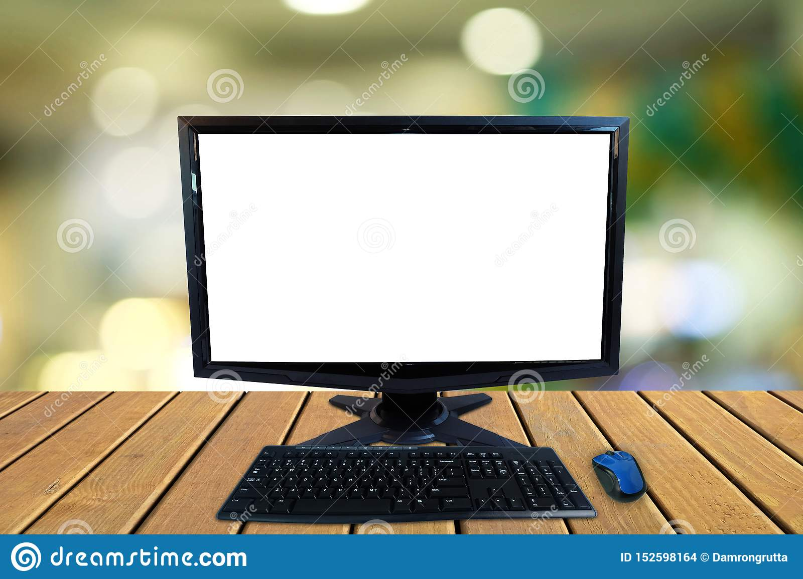 Computer Desktop Pc With Blank Screen And Keyboard And