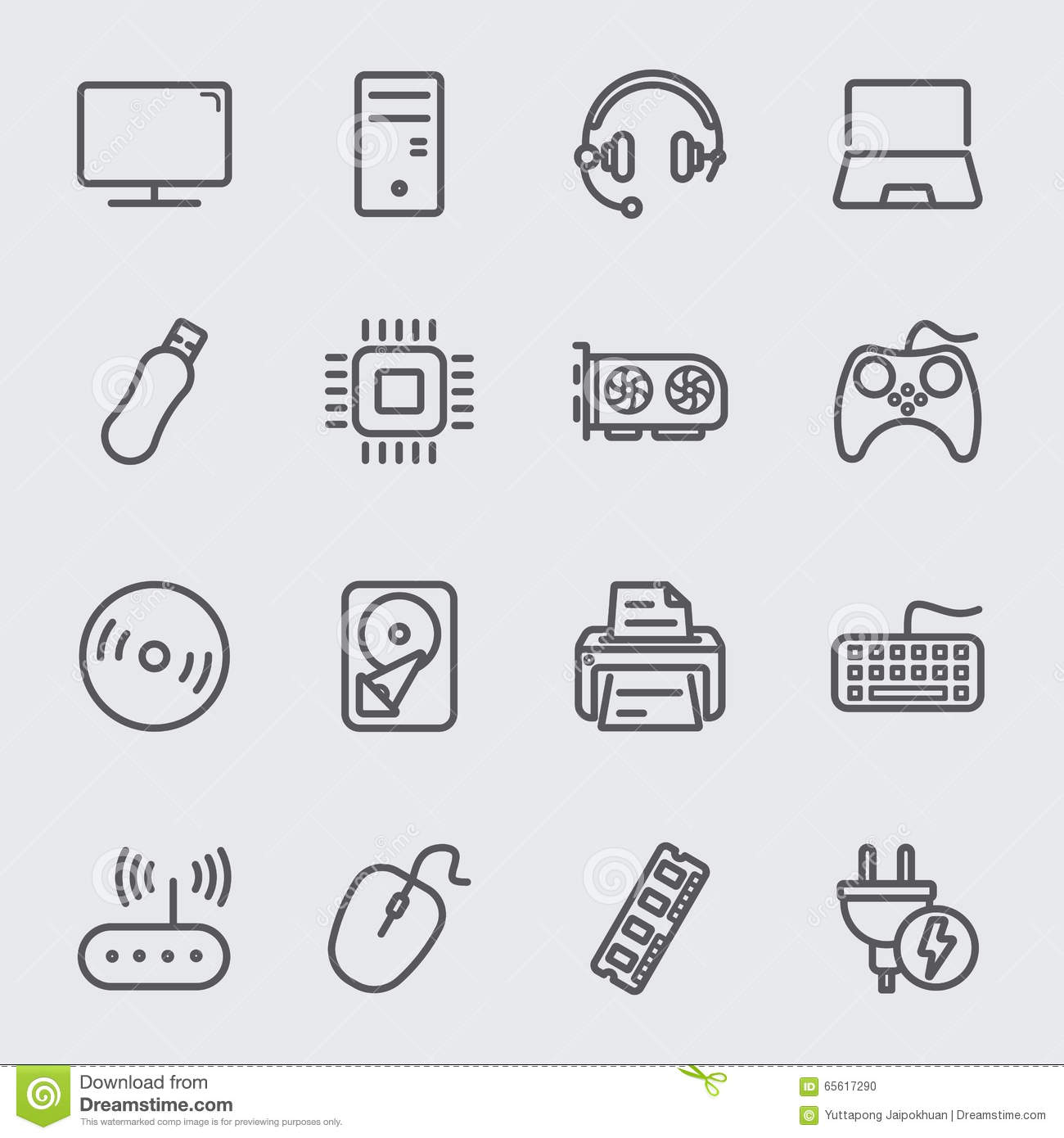 Computer Device Line Icon Stock Vector Illustration Of