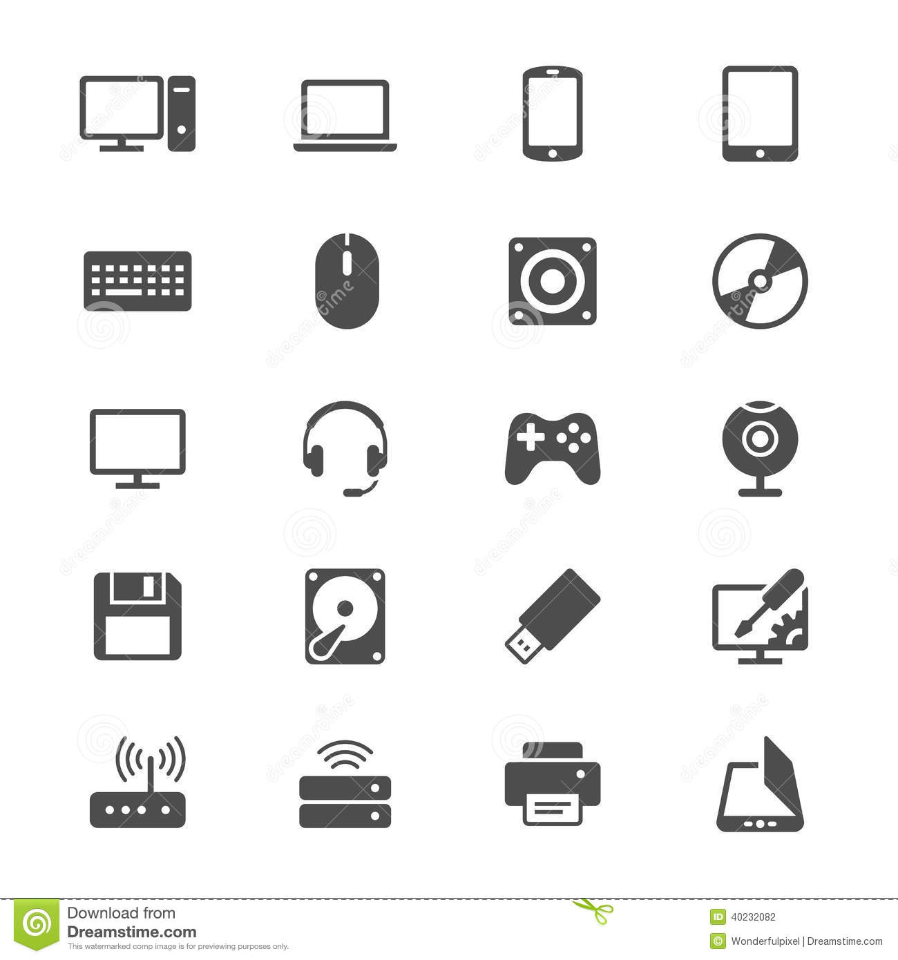 Computer Flat Icons Stock Vector Illustration Of Line