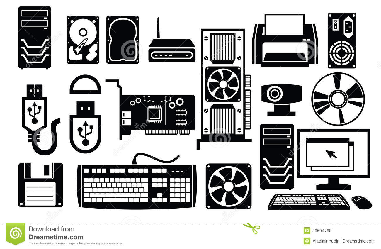 Computer hardware icon stock vector. Image of rom, cable