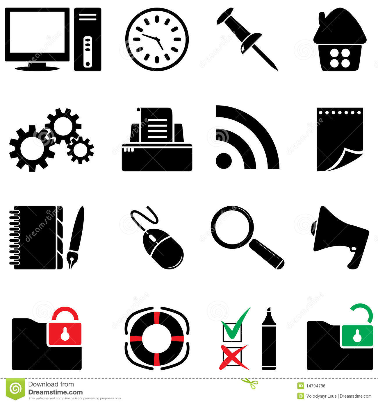 Computer Icon Set Black And White Colors Royalty Free