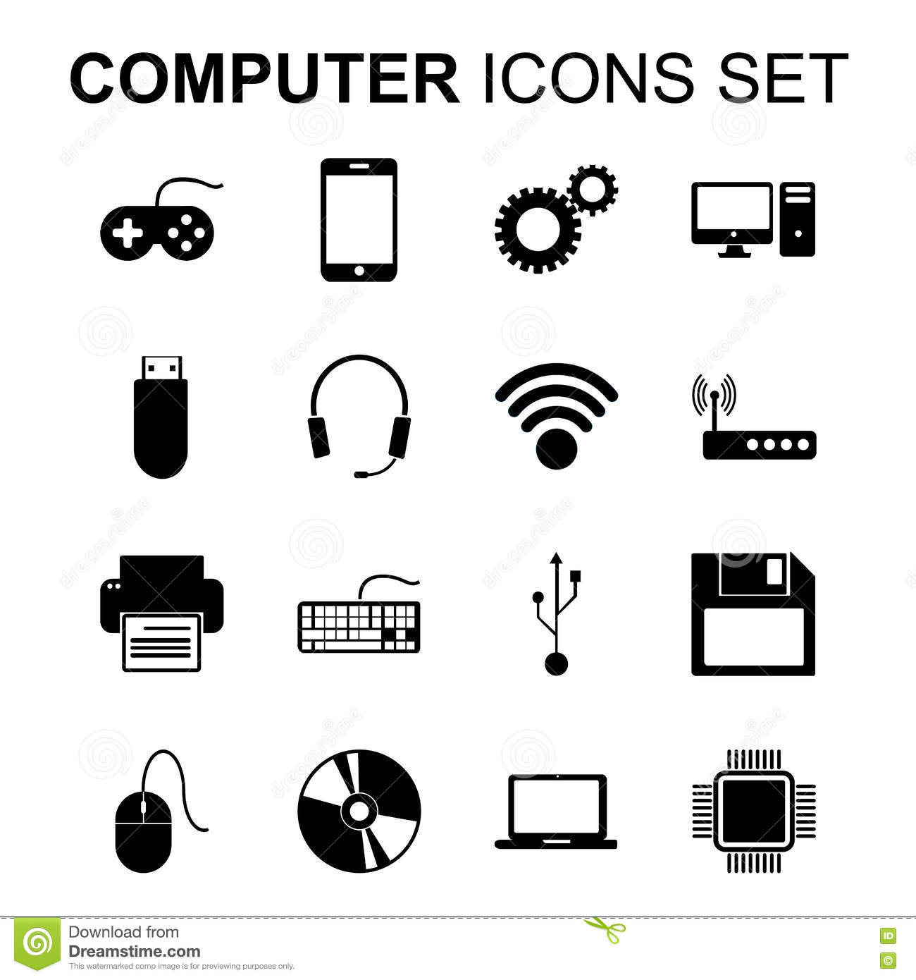 Computer Icons Set. Technology Silhouette Symbols. Vector