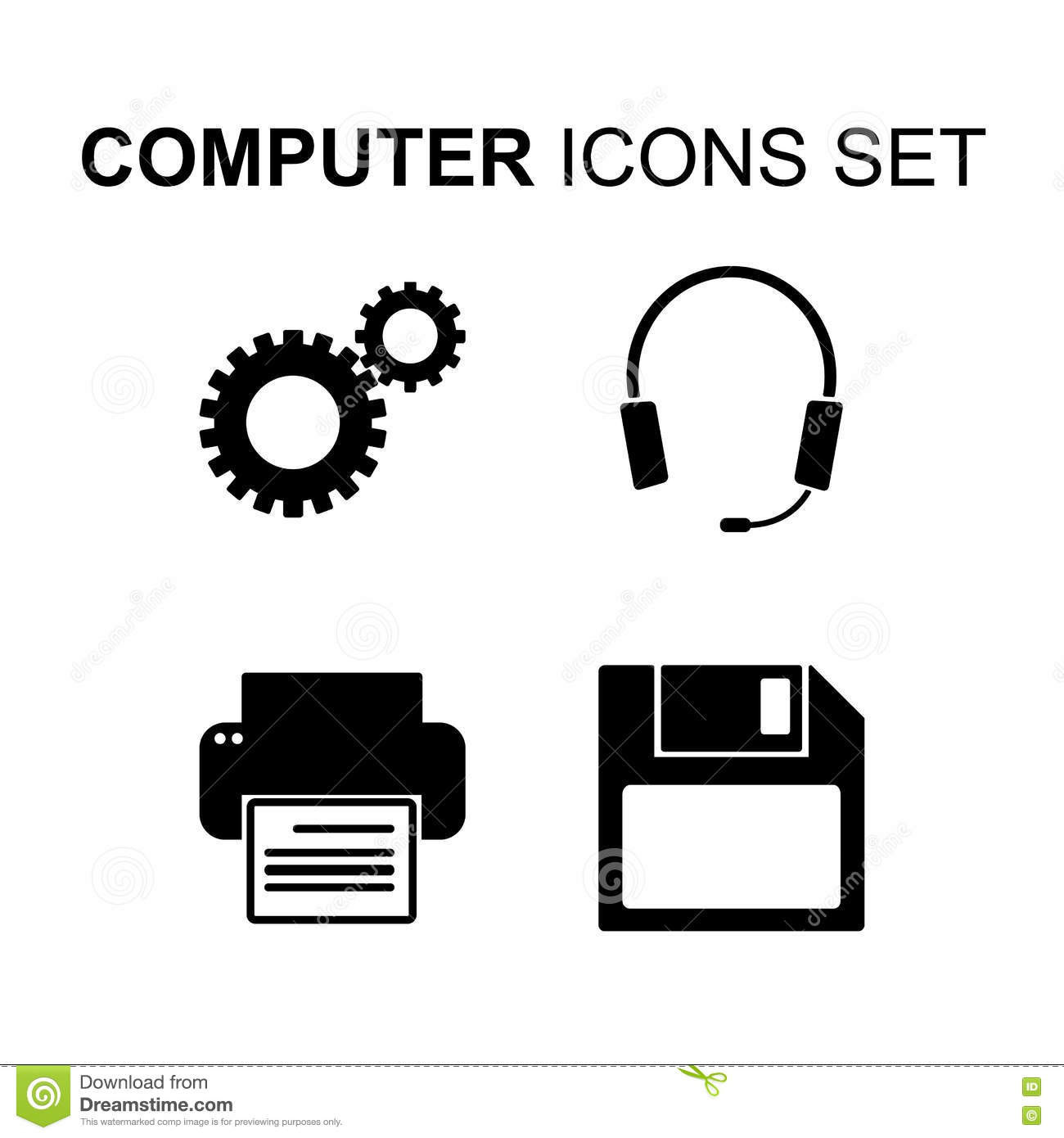 Computer Technology Vector Symbols Or Icons Set Cartoon
