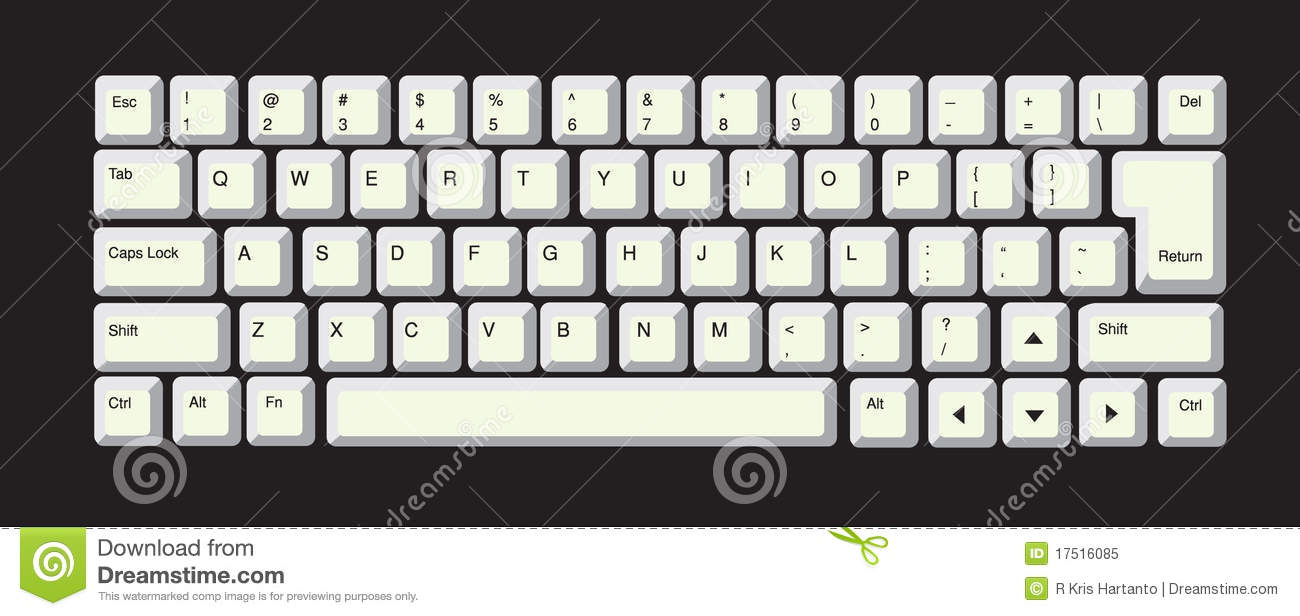 Computer Keyboard stock vector Illustration of intro