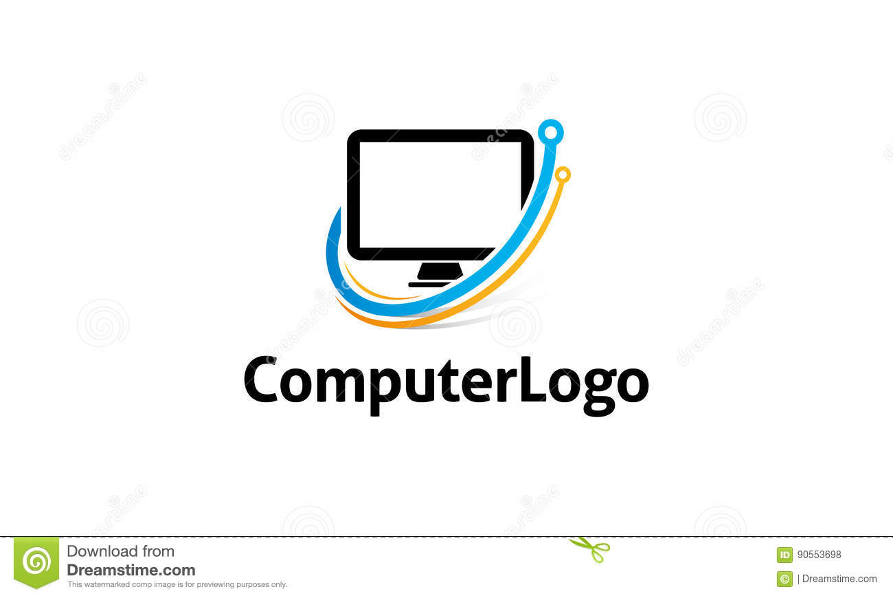 Computer Logo stock vector. Illustration of simple