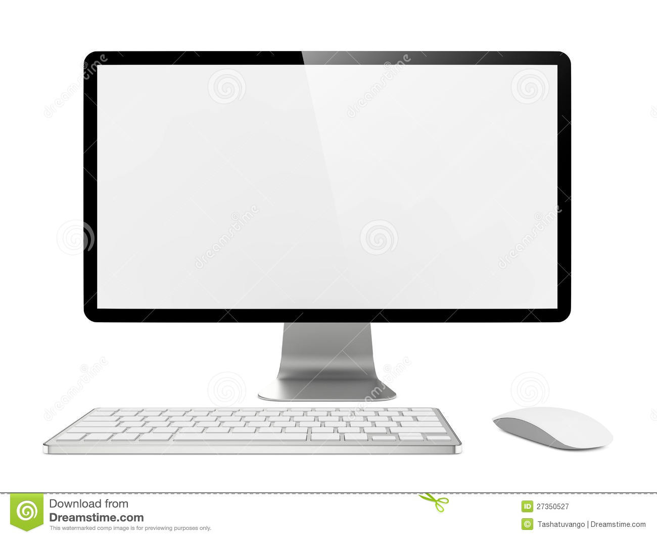 Computer Monitor With Mouse And Keyboard Royalty Free