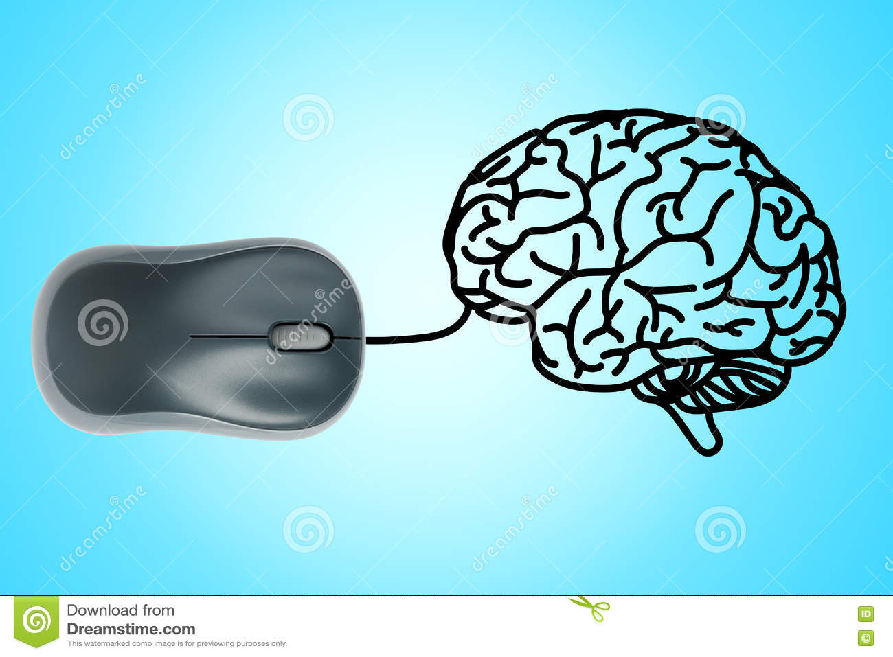 hight resolution of computer mouse wire in to human brain