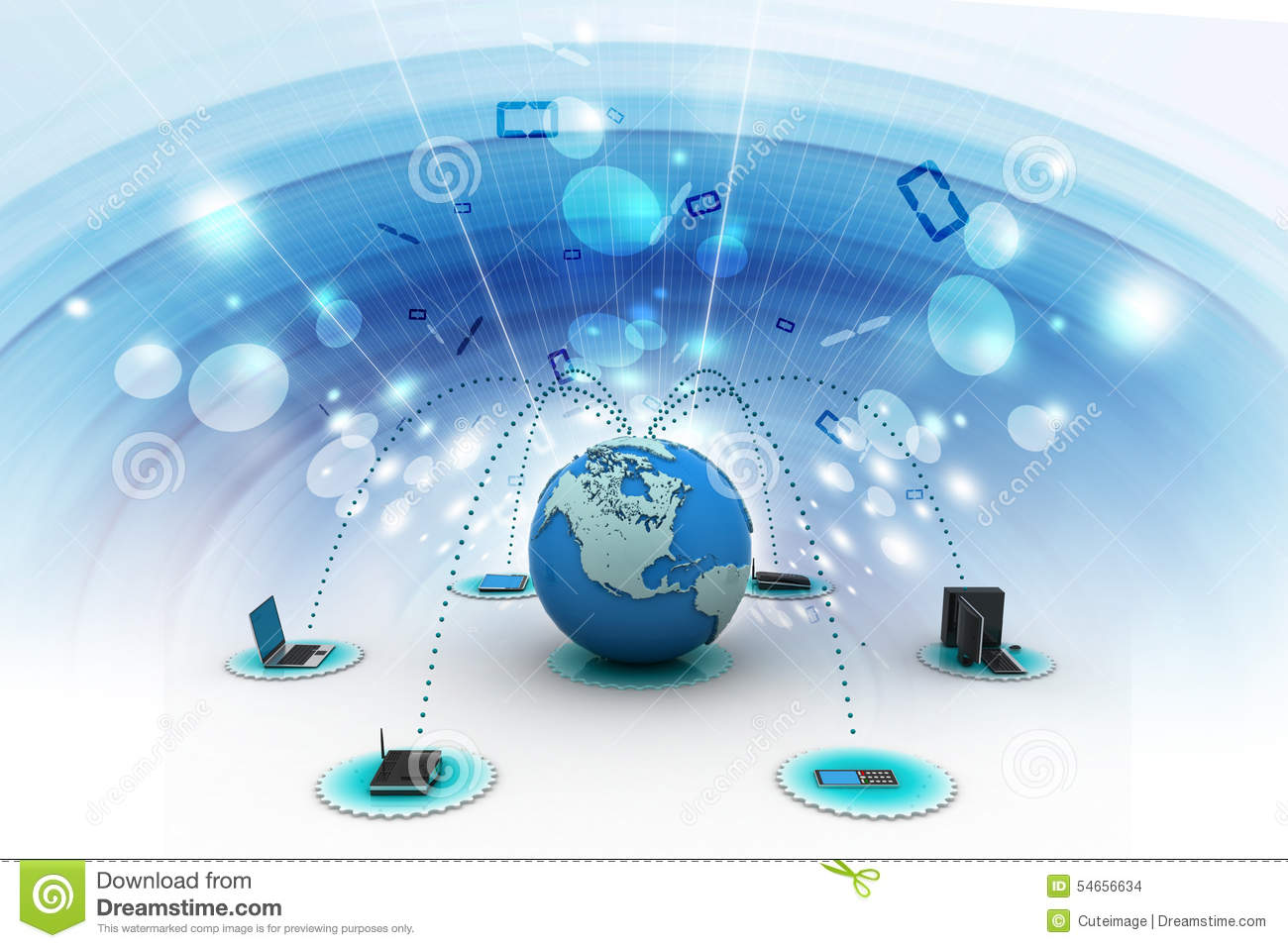 Computer Networking With Globe Stock Illustration