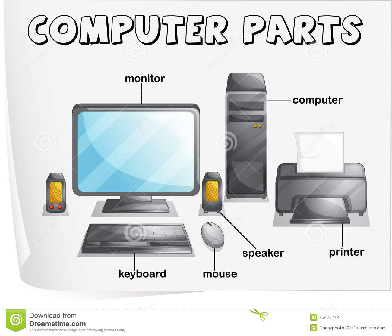 Computer Parts Stock Illustration Illustration Of Label