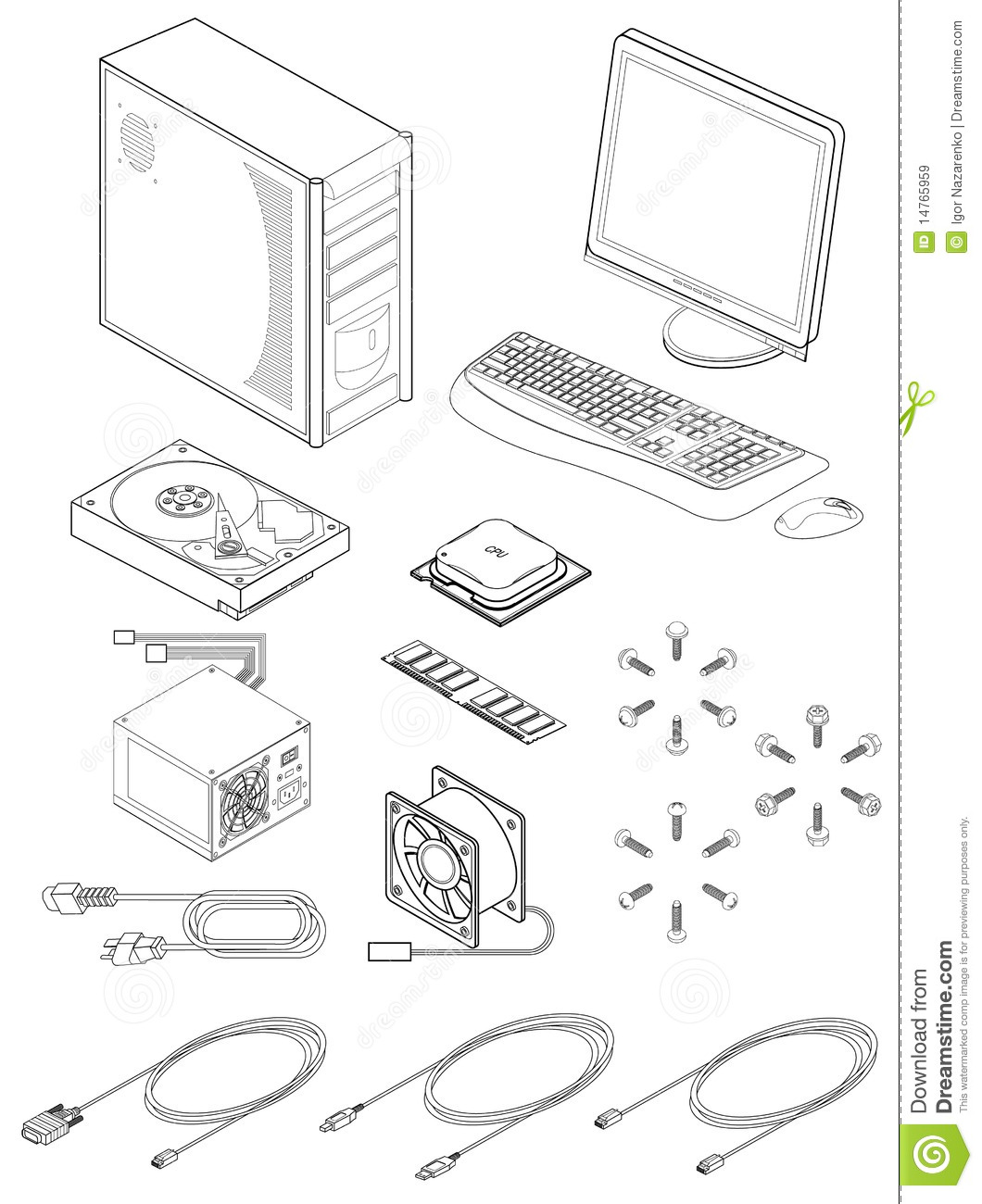 Computer Parts And Accessories Stock Vector