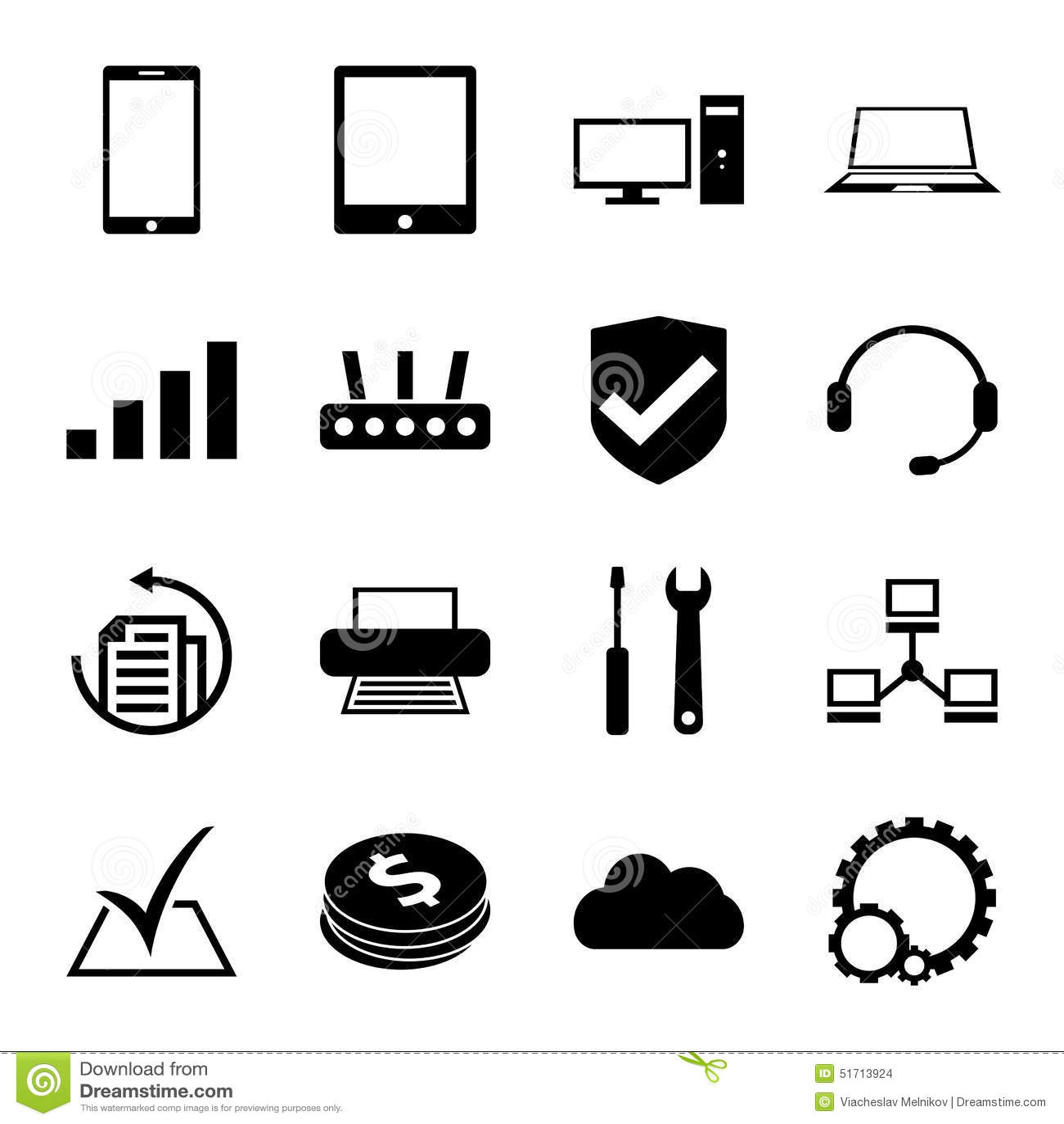 Computer Repair Service Icons Set Monochrome Stock Vector