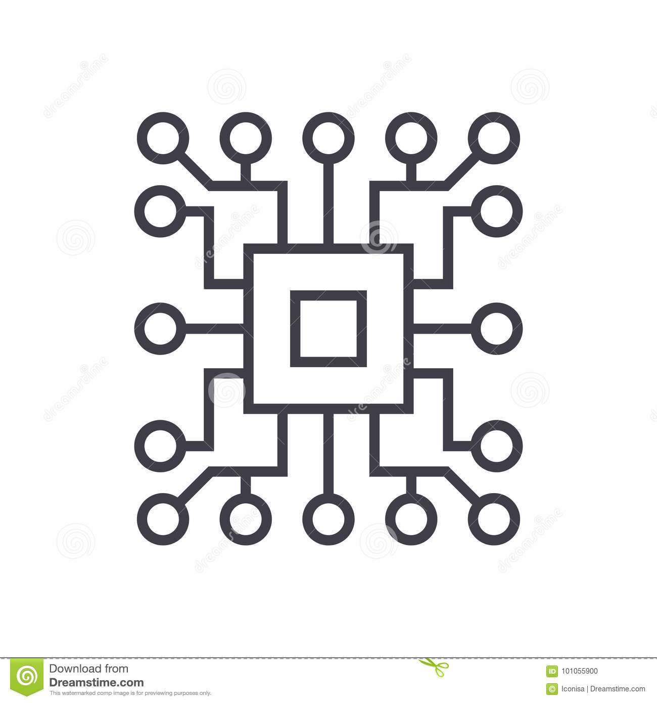 Computer Science Circuit Vector Line Icon Sign