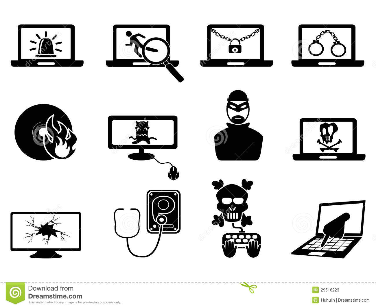 Computer Security And Cyber Thift Icons Stock Vector