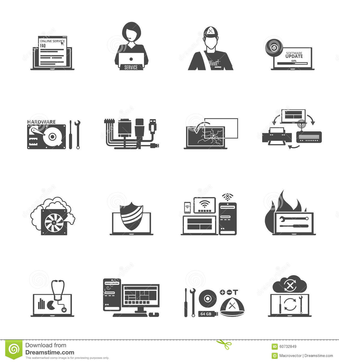 Computer Service Icons Set Stock Vector Illustration Of