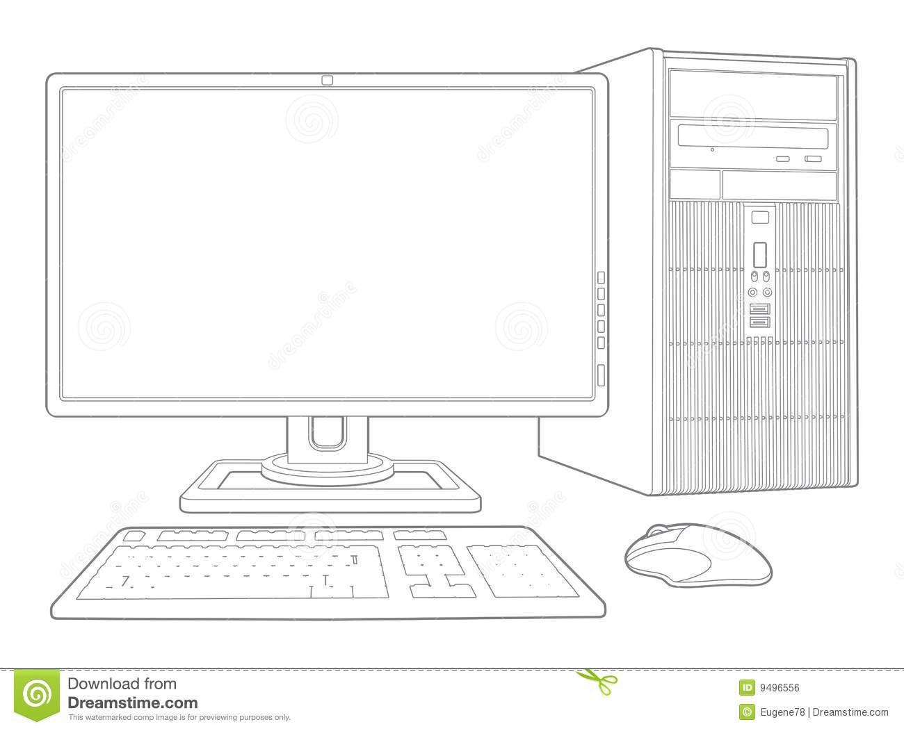 Computer System Stock Vector Illustration Of Slimtower