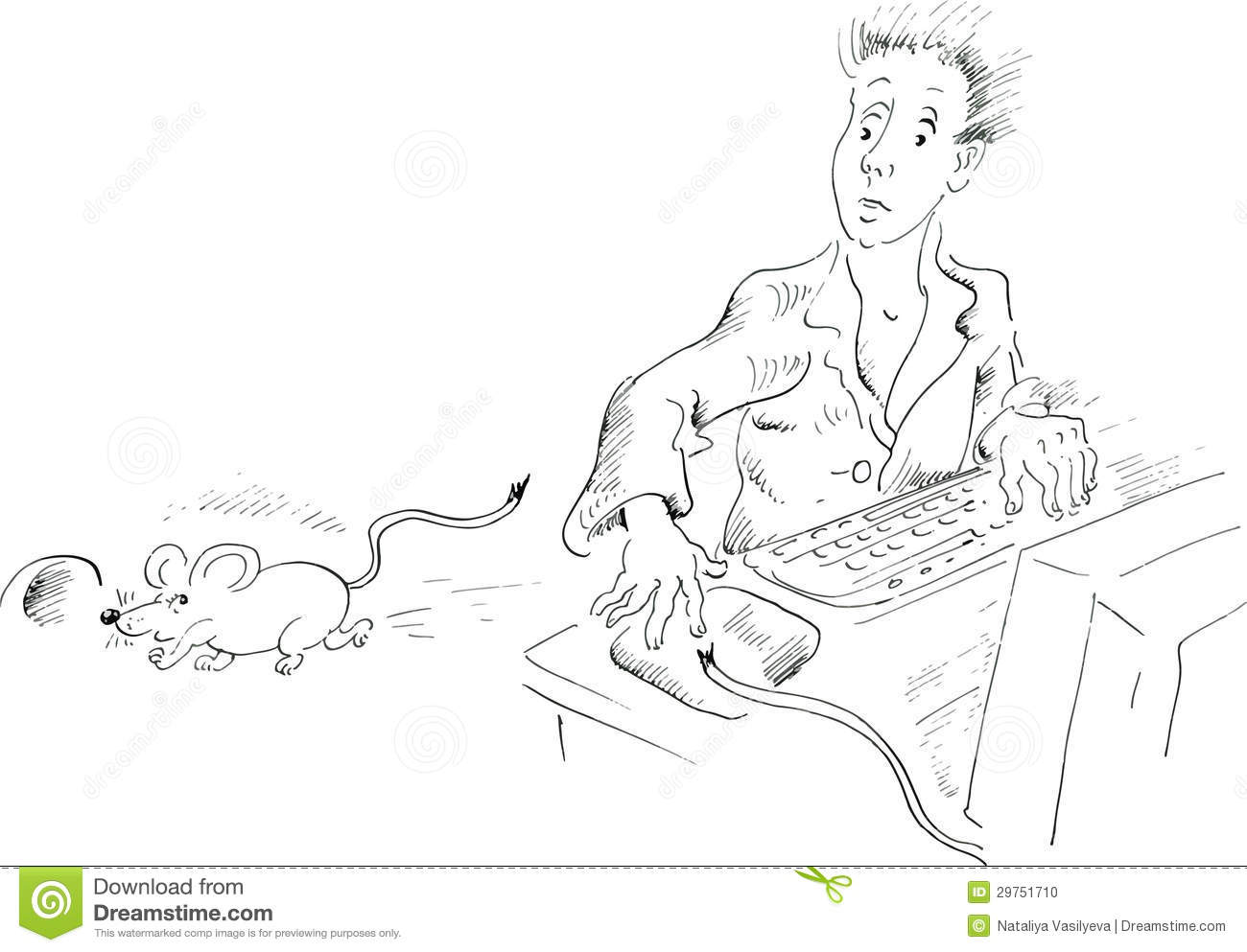 Computer User Looking At Mouse Running Away Stock Photo