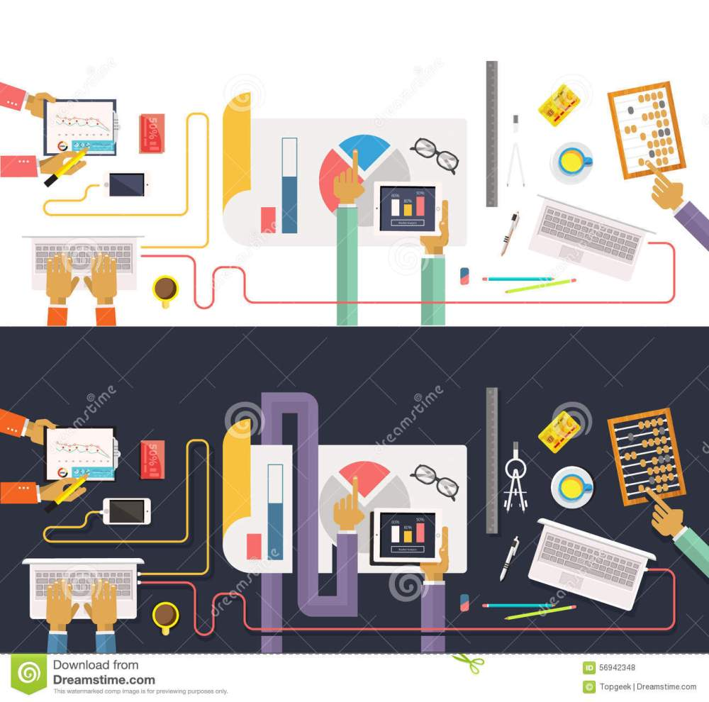 medium resolution of concept of business process worlflow top view data collection and analysis teamwork concept in flat design team works together on a project