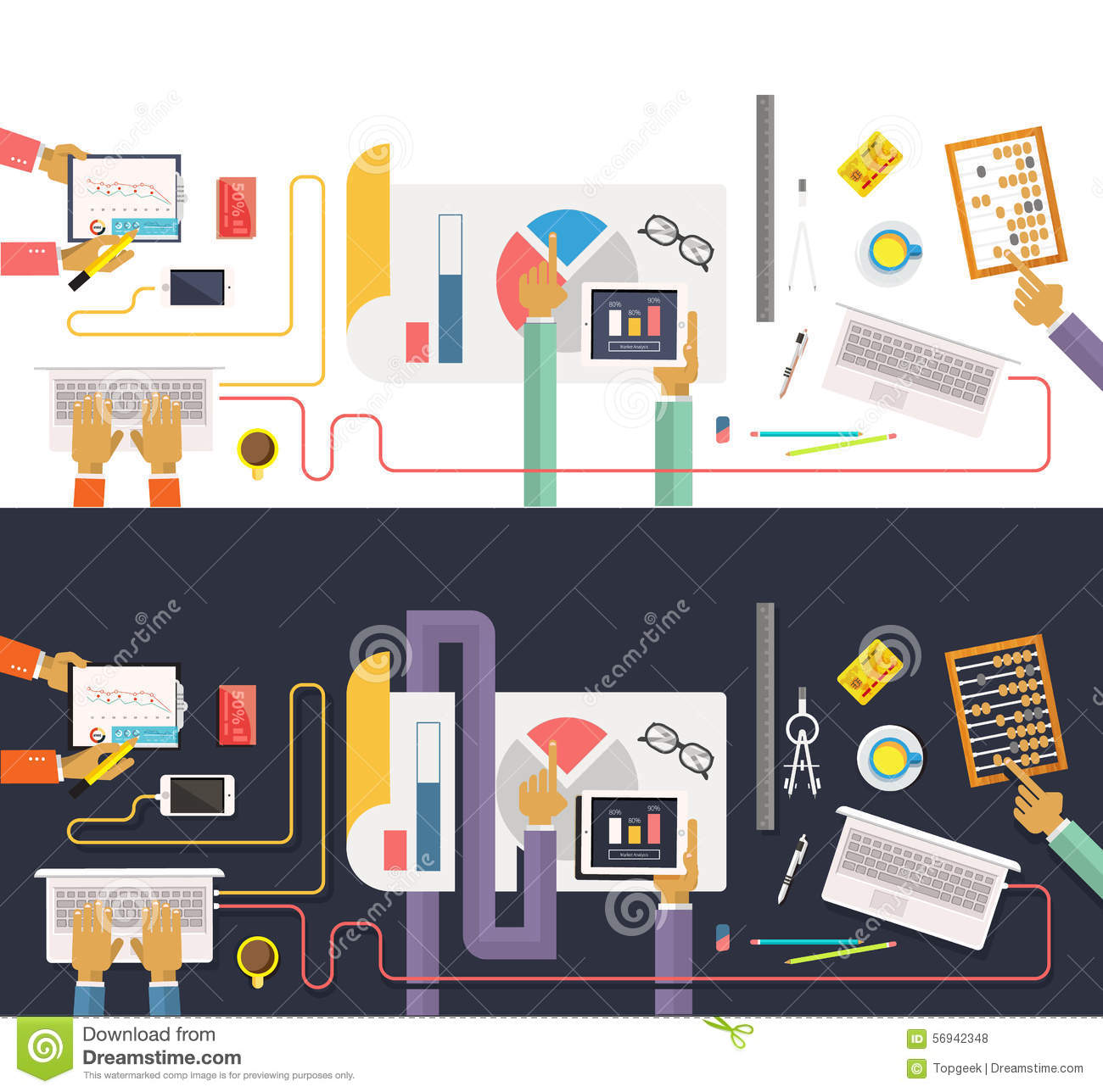 hight resolution of concept of business process worlflow top view data collection and analysis teamwork concept in flat design team works together on a project