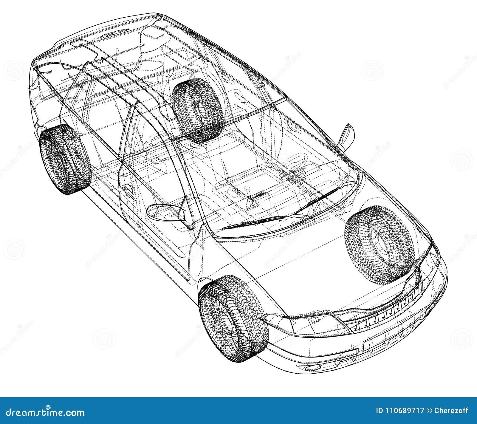 Concept Car. Vector Rendering Of 3d Stock Vector