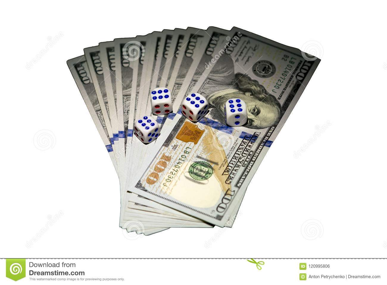 The Concept Of Dice Dollars And Dice On The Dice Fell