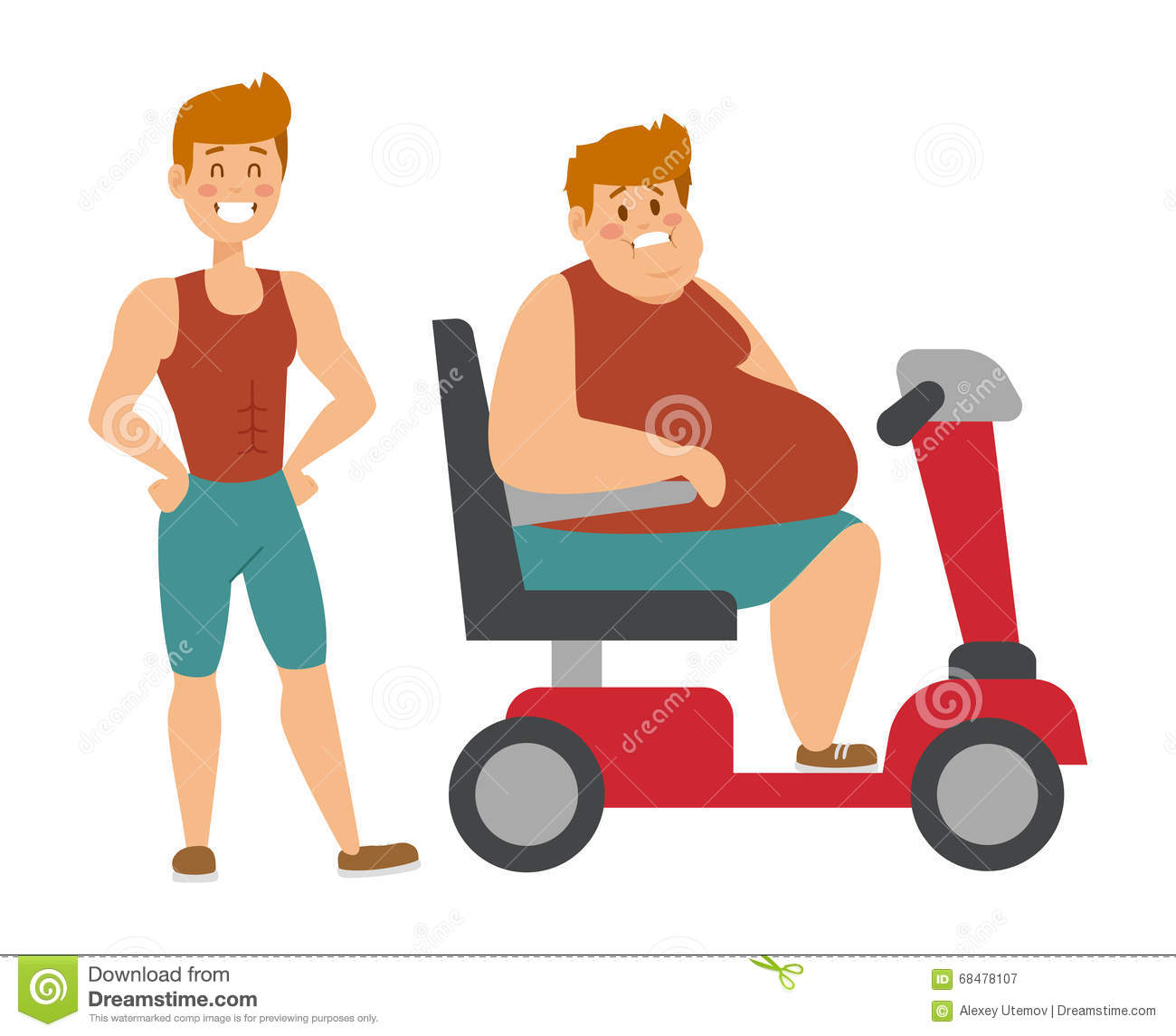 Concept Fitness Weight Loss Fat Man And Thin Sports Guy