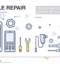 concept of mobile phone repair horizontal banner with smartphone and tools service electronic technic [ 1300 x 812 Pixel ]