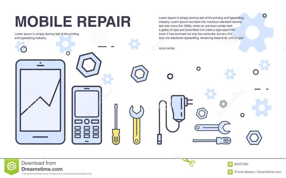 medium resolution of concept of mobile phone repair horizontal banner with smartphone and tools service electronic technic