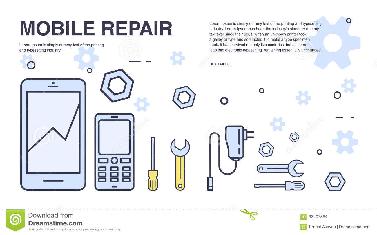 hight resolution of concept of mobile phone repair horizontal banner with smartphone and tools service electronic technic