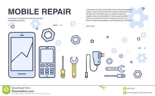 small resolution of concept of mobile phone repair horizontal banner with smartphone and tools service electronic technic
