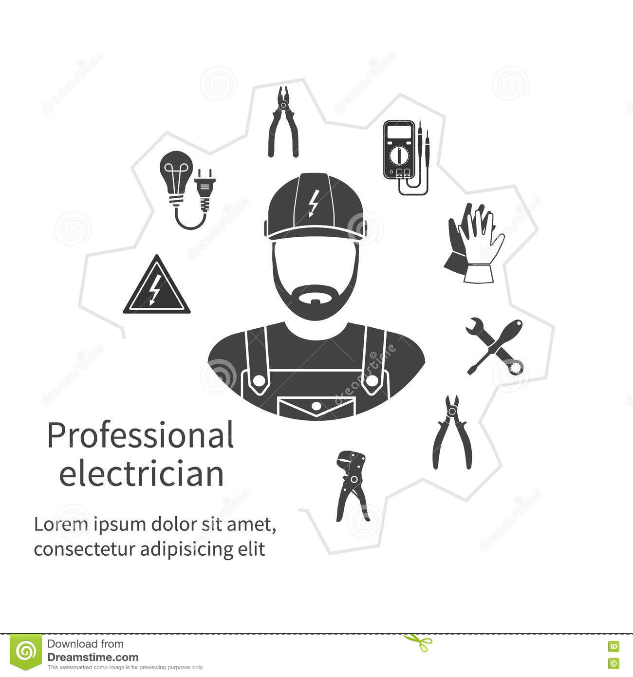 Concept Of Profession Electrician. Repair And Maintenance