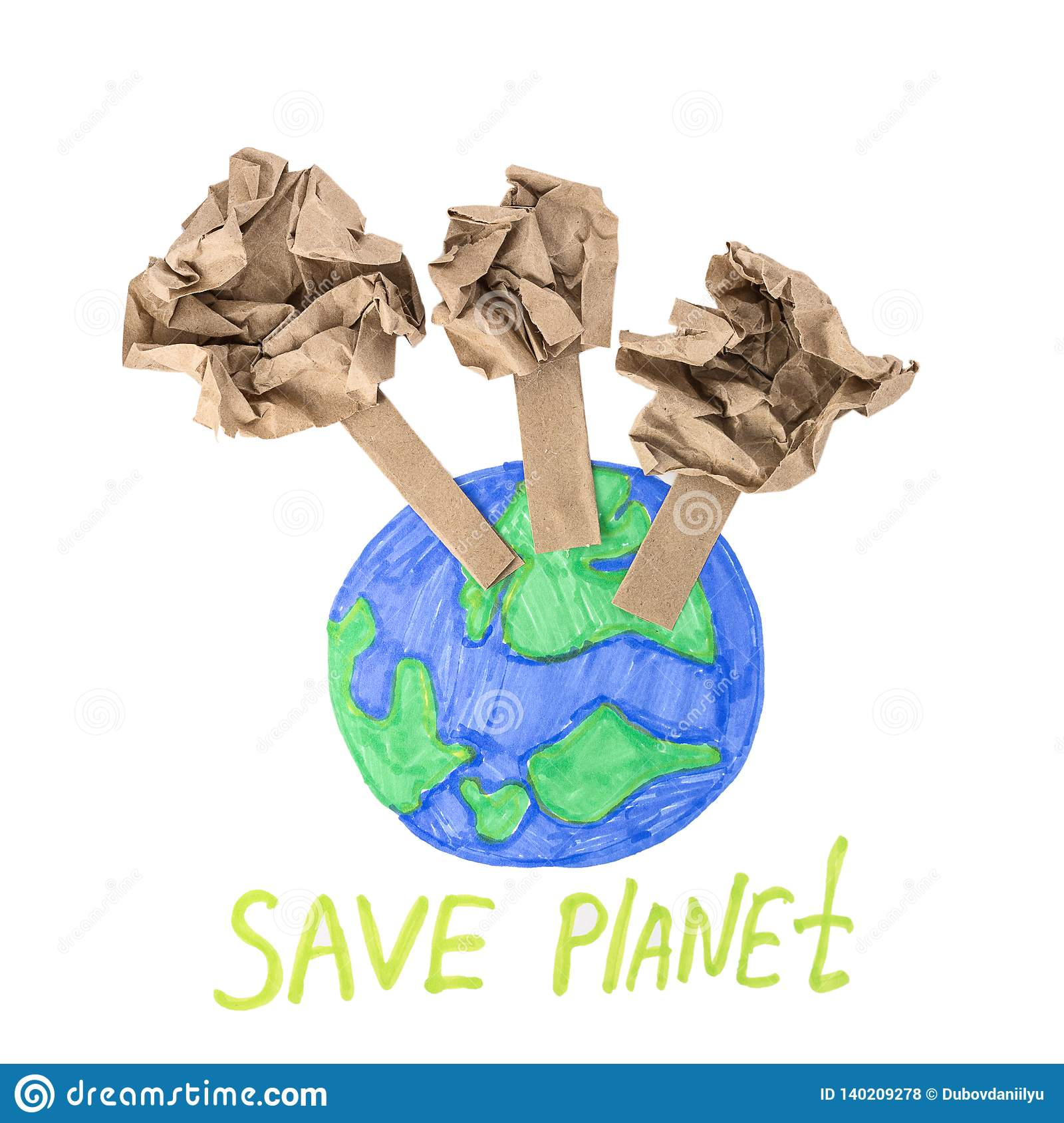 The Concept Of Saving Paper Save The Planet Stock Photo