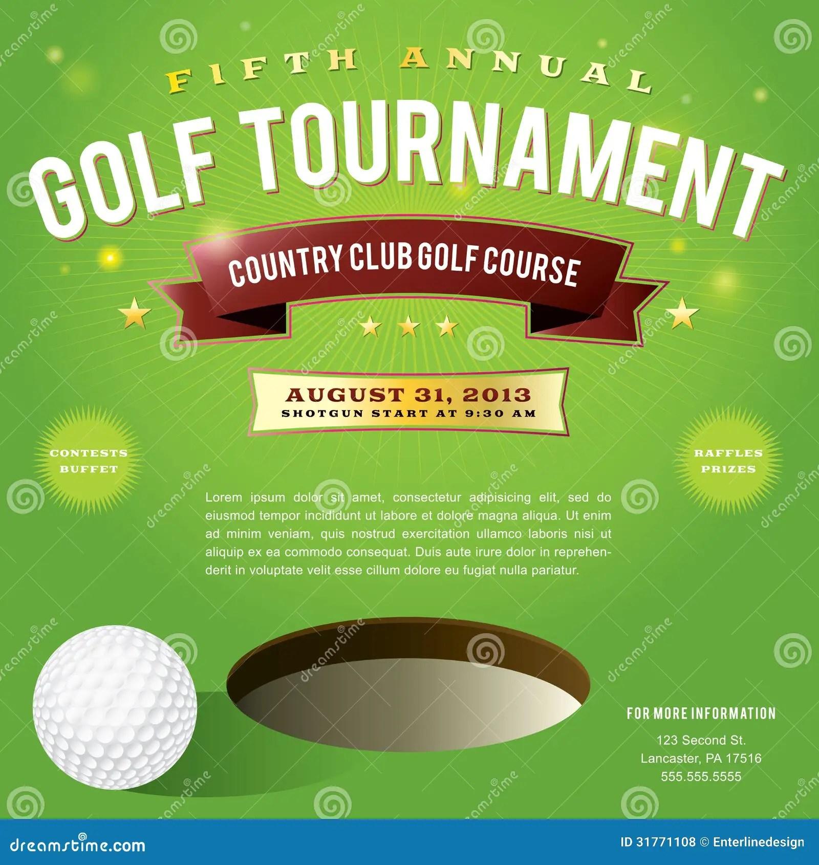 Conception D'invitation De Tournoi De Golf Illustration De