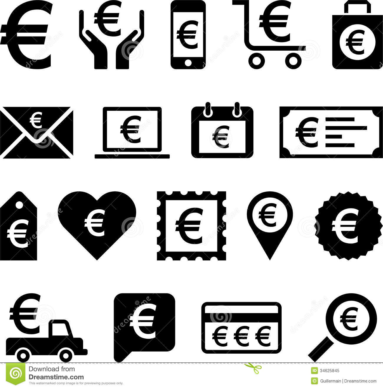 Conceptual Euro icons stock vector. Image of cart, hand