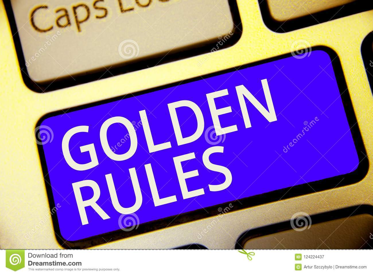 Conceptual Hand Writing Showing Golden Rules Business