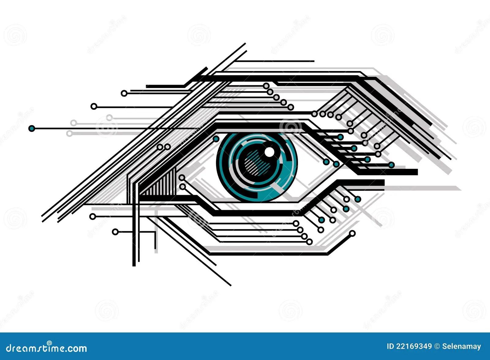 Conceptual Tech Stylized Eye Stock Vector