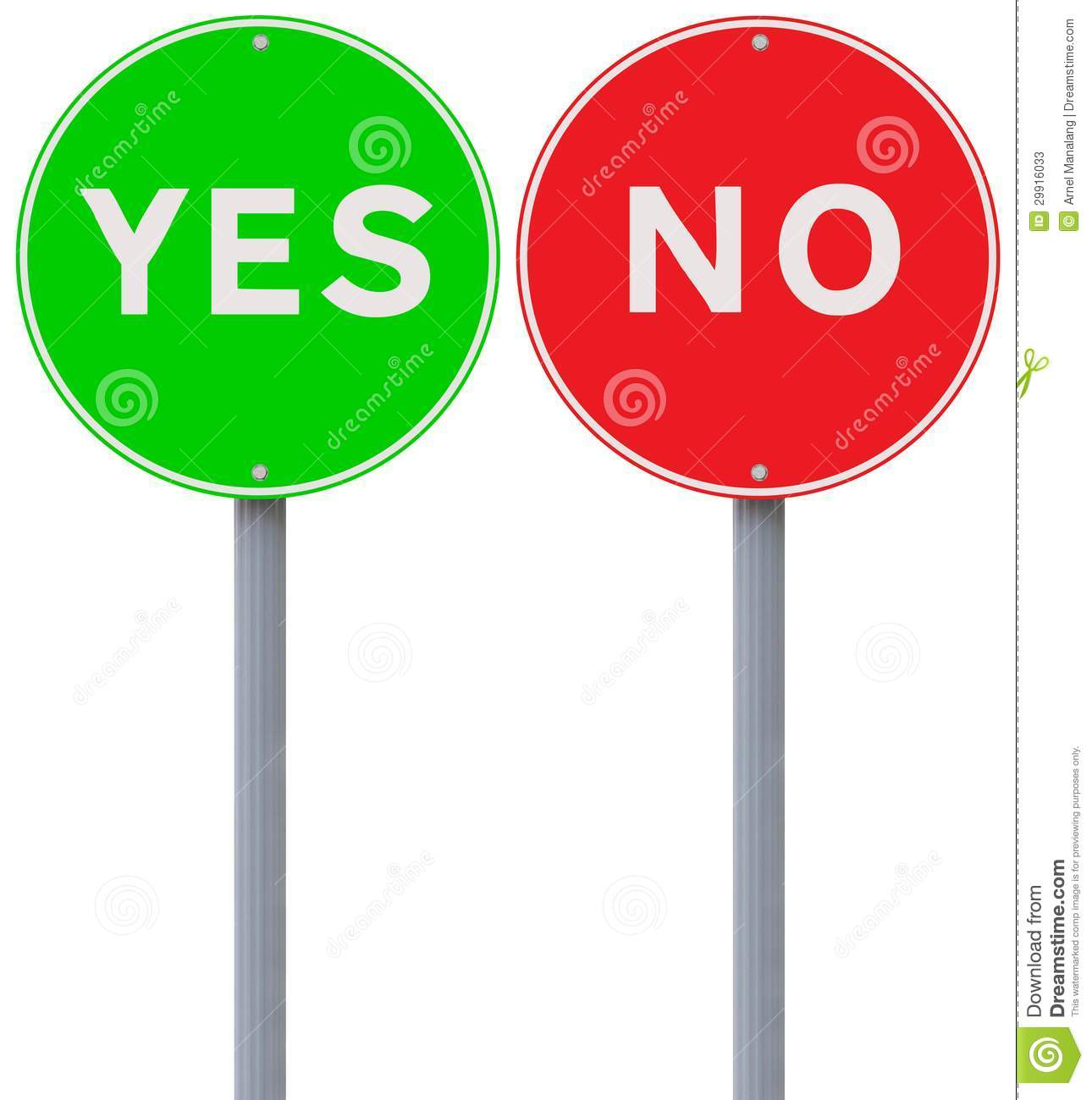 Yes Or No Stock Image Image Of Green Background