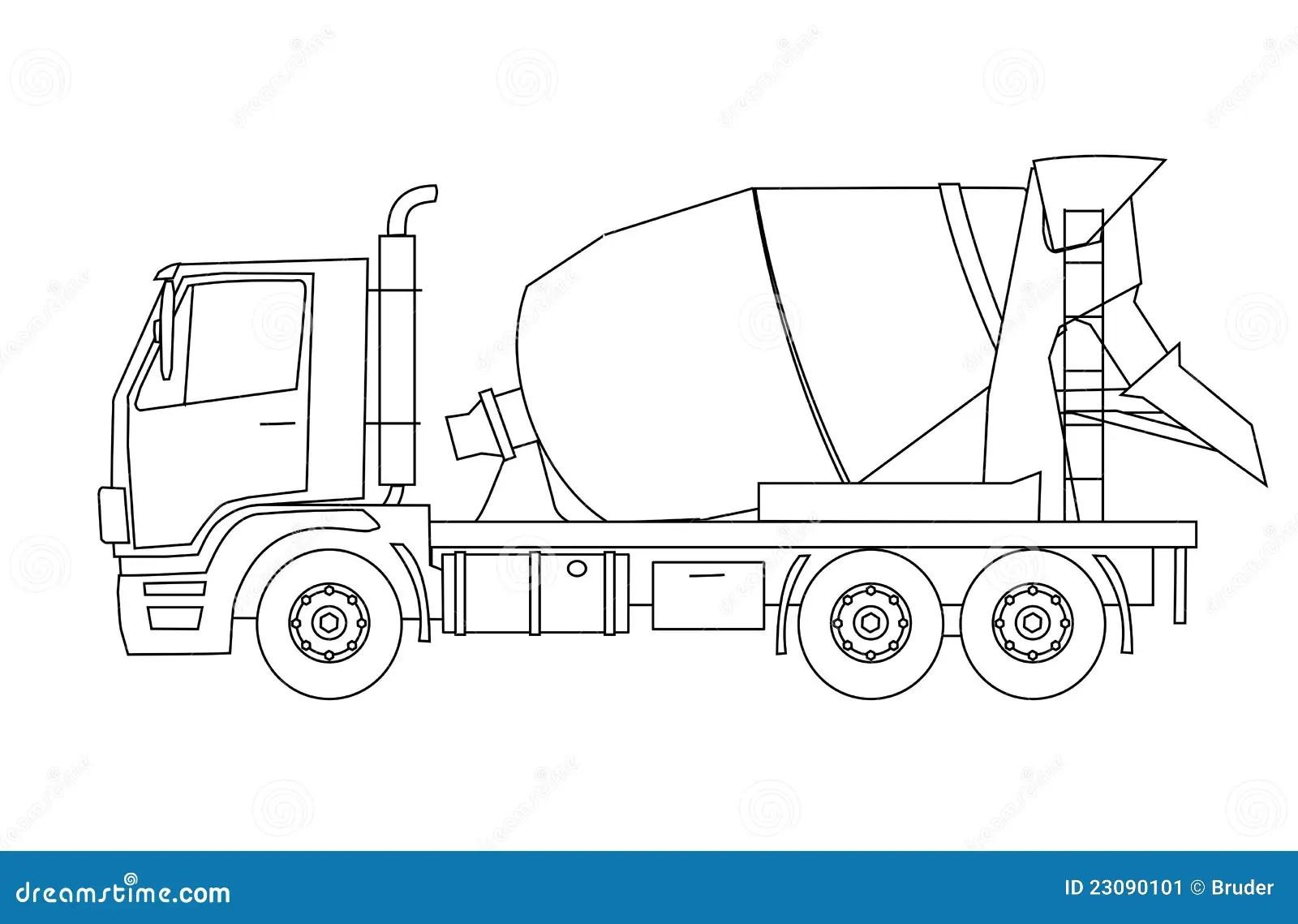 Concrete Mixer Truck Stock Vector Illustration Of Hard