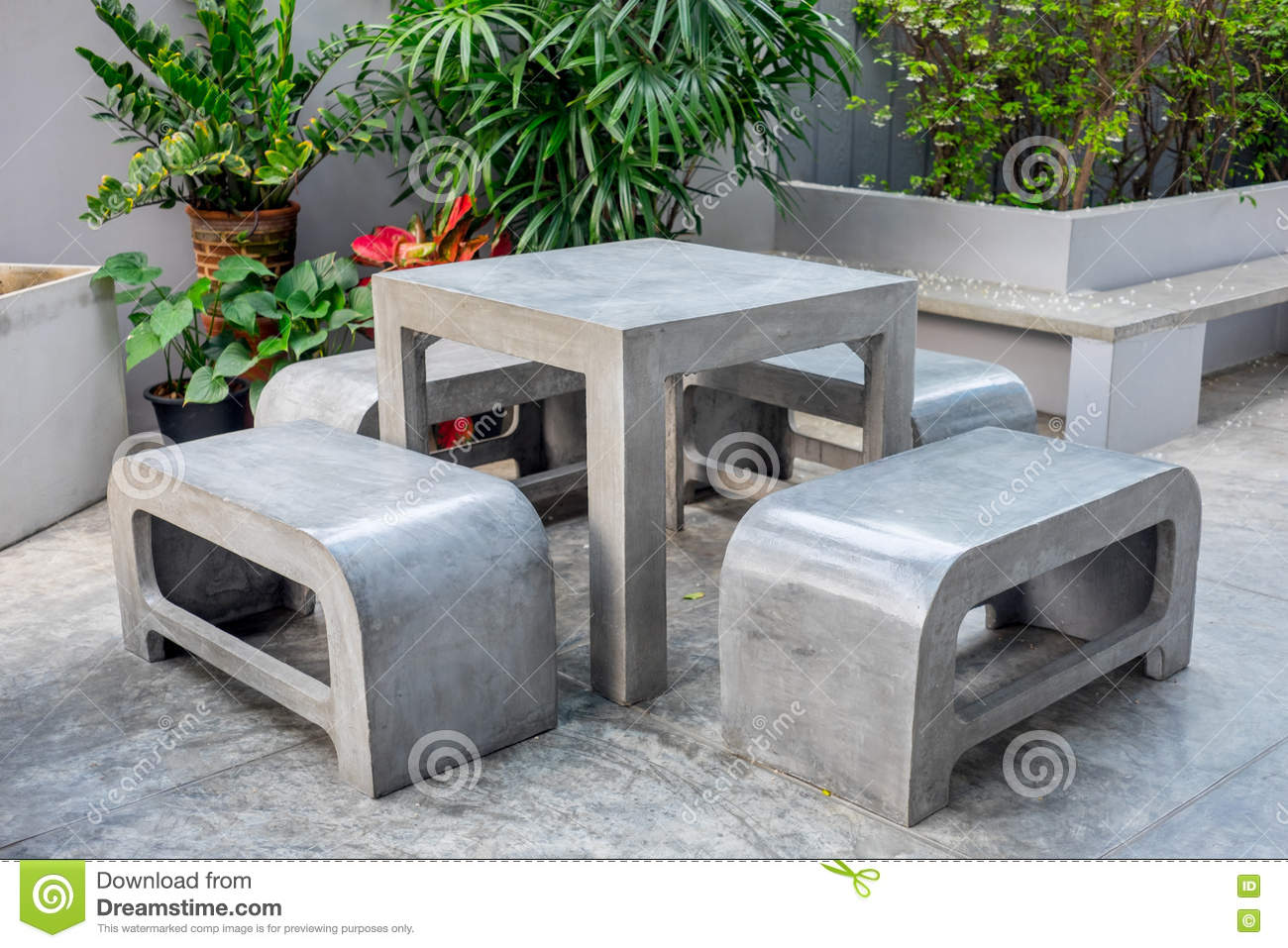 Concrete Rebar Chairs Concrete Outdoor Furniture Set In Small Garden Stock Photo Image