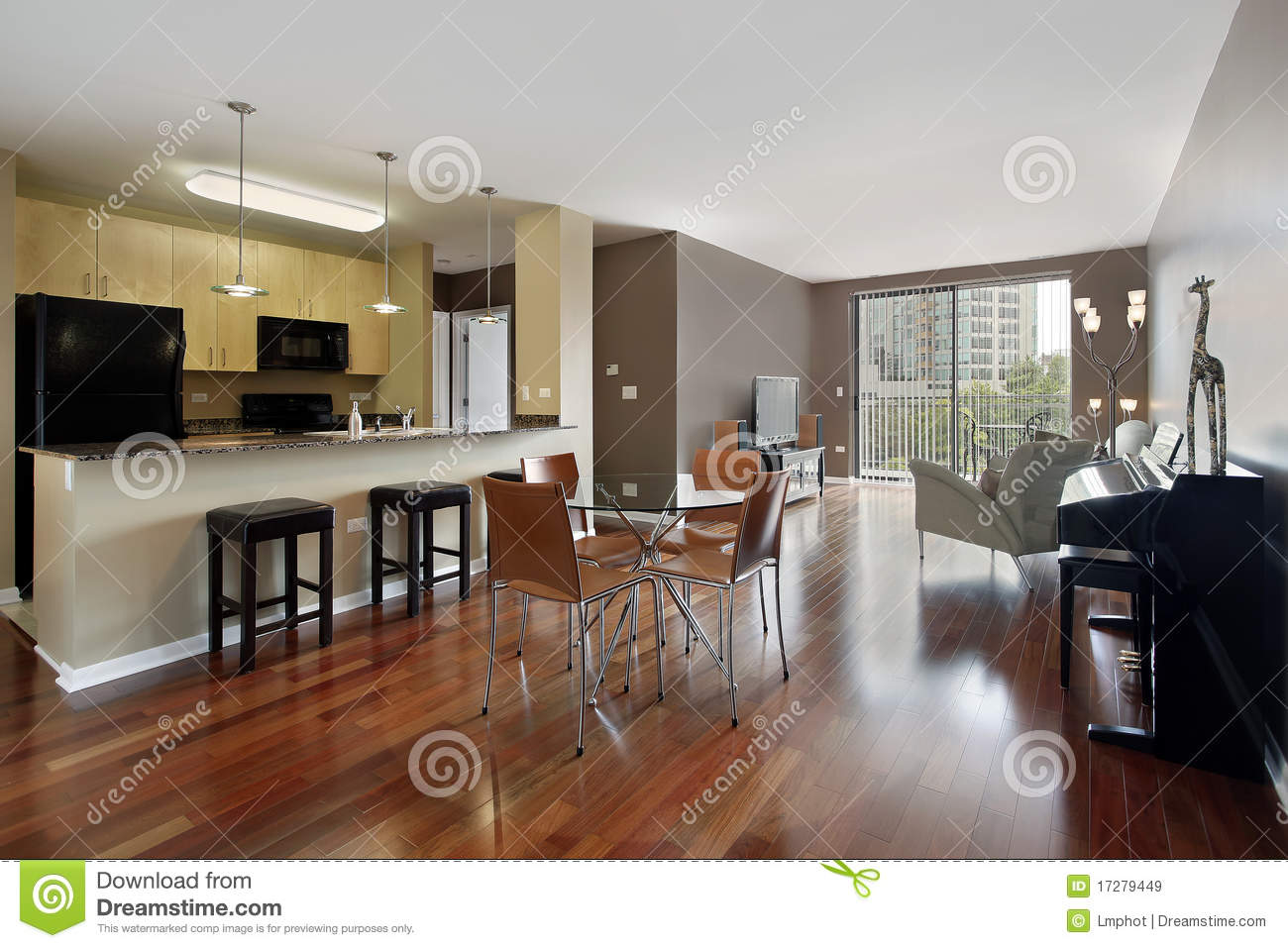 kitchen carpet sets kohler pull out faucet repair condo with open floor plan royalty free stock images ...