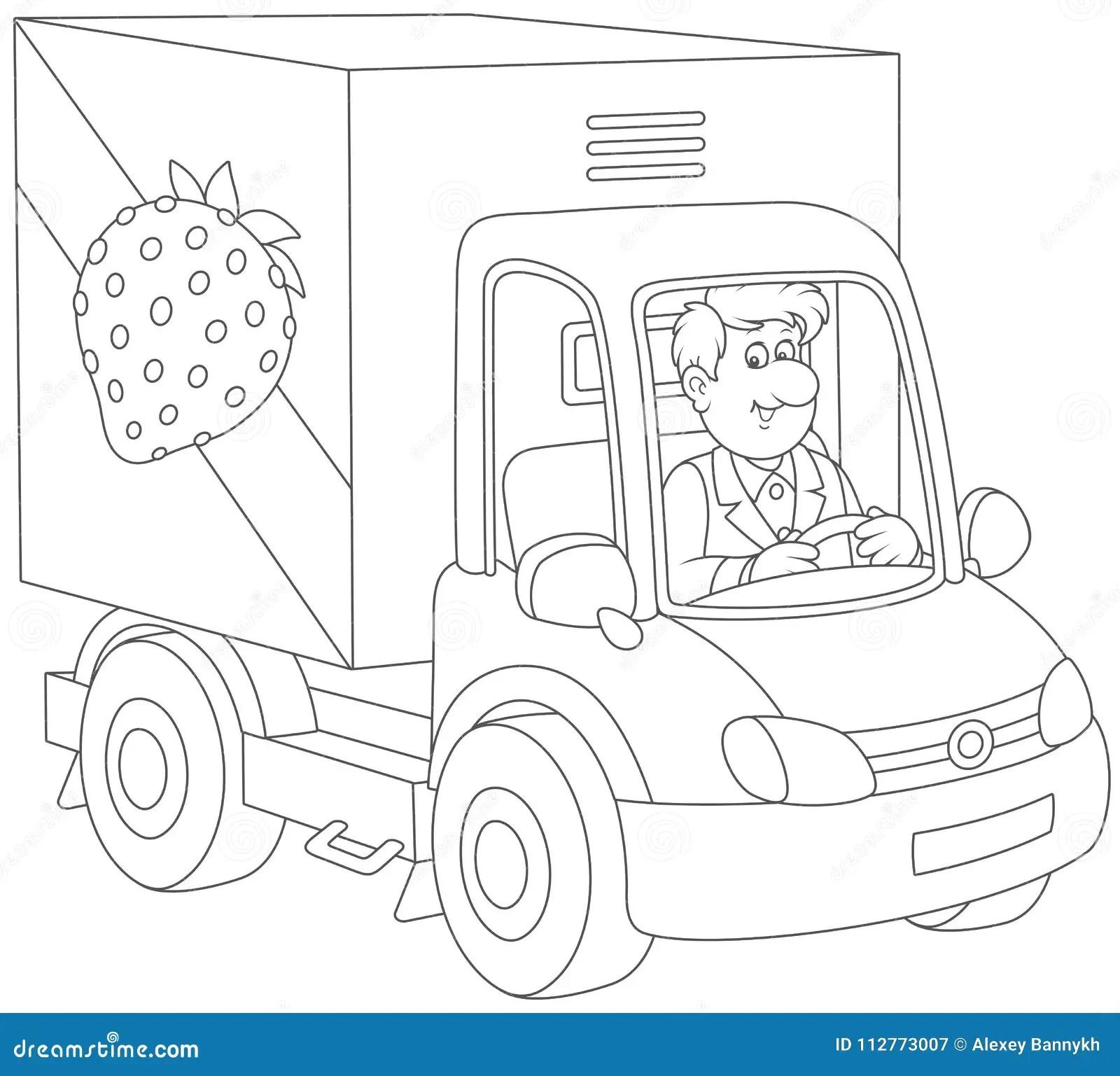 Conductor De Camion Que Entrega Mercancias Ilustracion Del