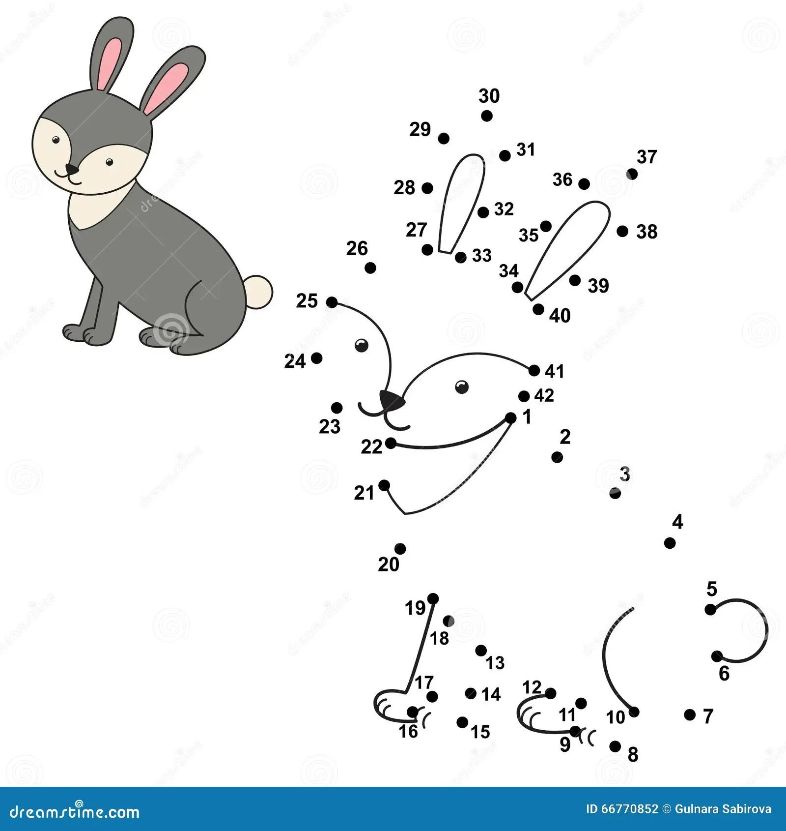 Conecte Los Puntos Para Dibujar El Conejo Lindo Y Para