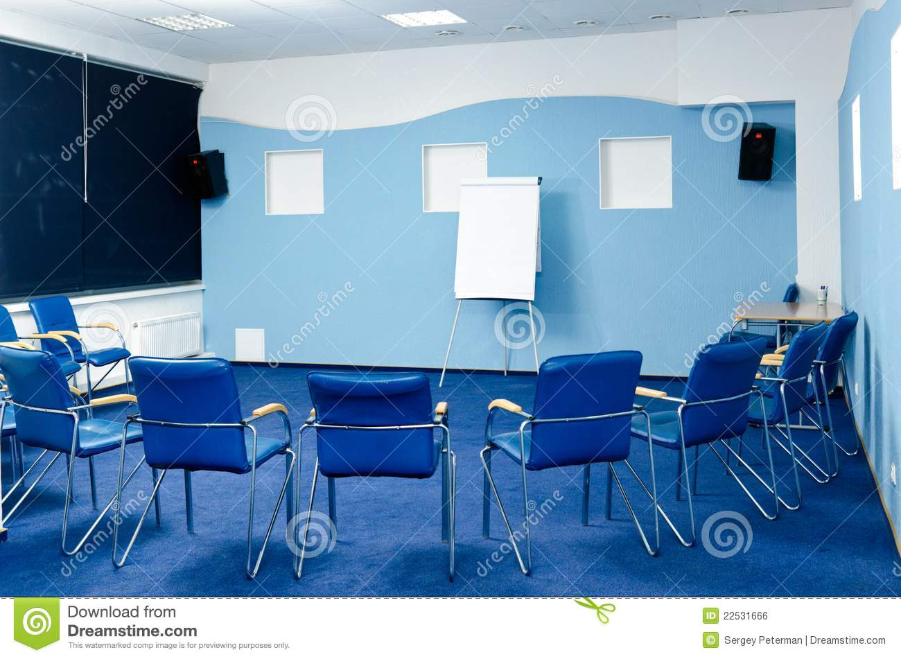 blue office chair garden covers seat cushion conference room royalty free stock image - image: 22531666