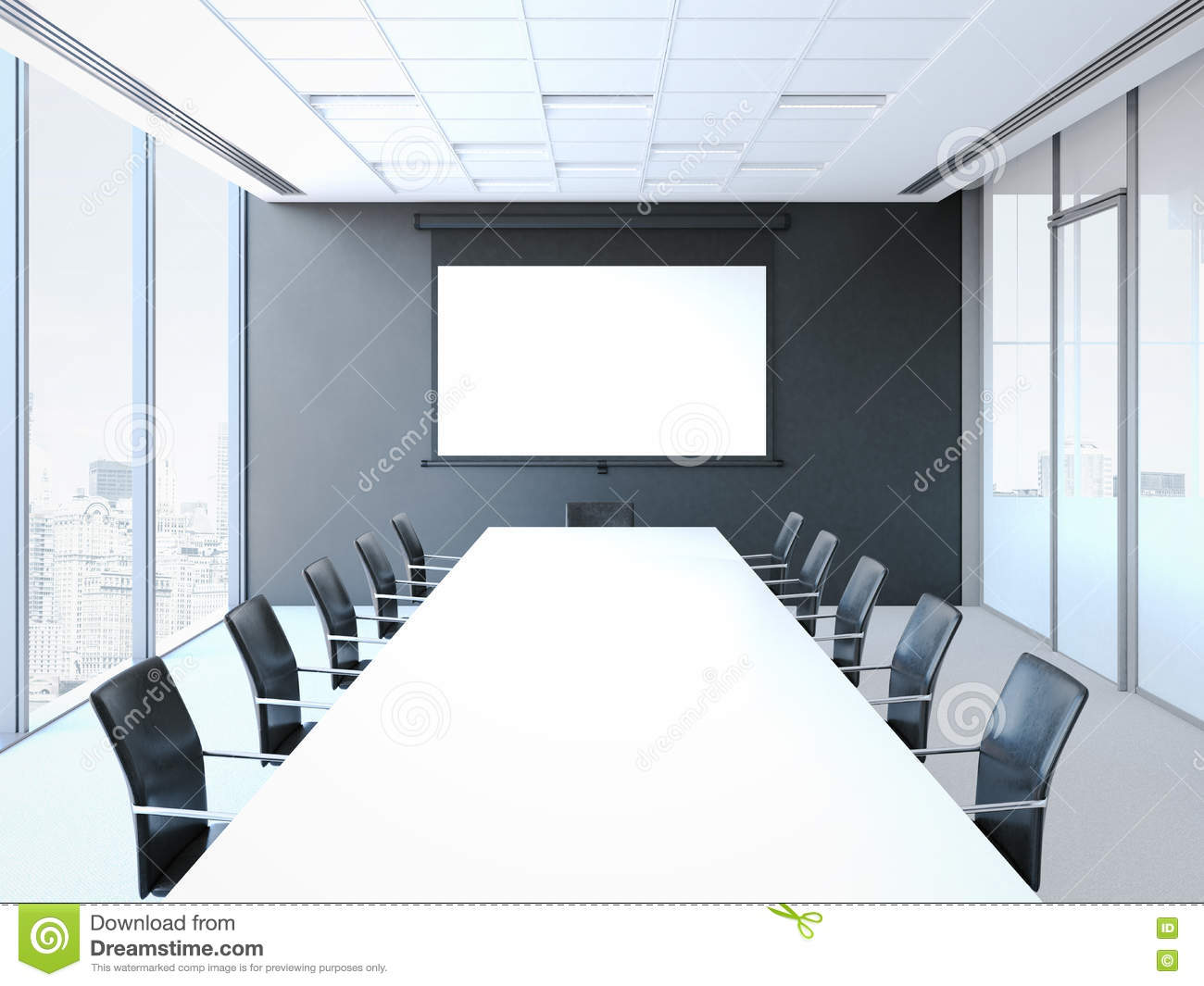 office chairs unlimited vinyl strap chair repair kit conference room with white table and black chairs. 3d rendering stock illustration - image: 73286340