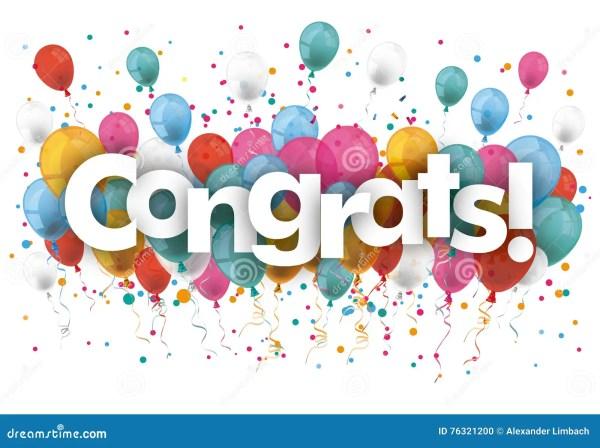 confetti balloons congrats stock