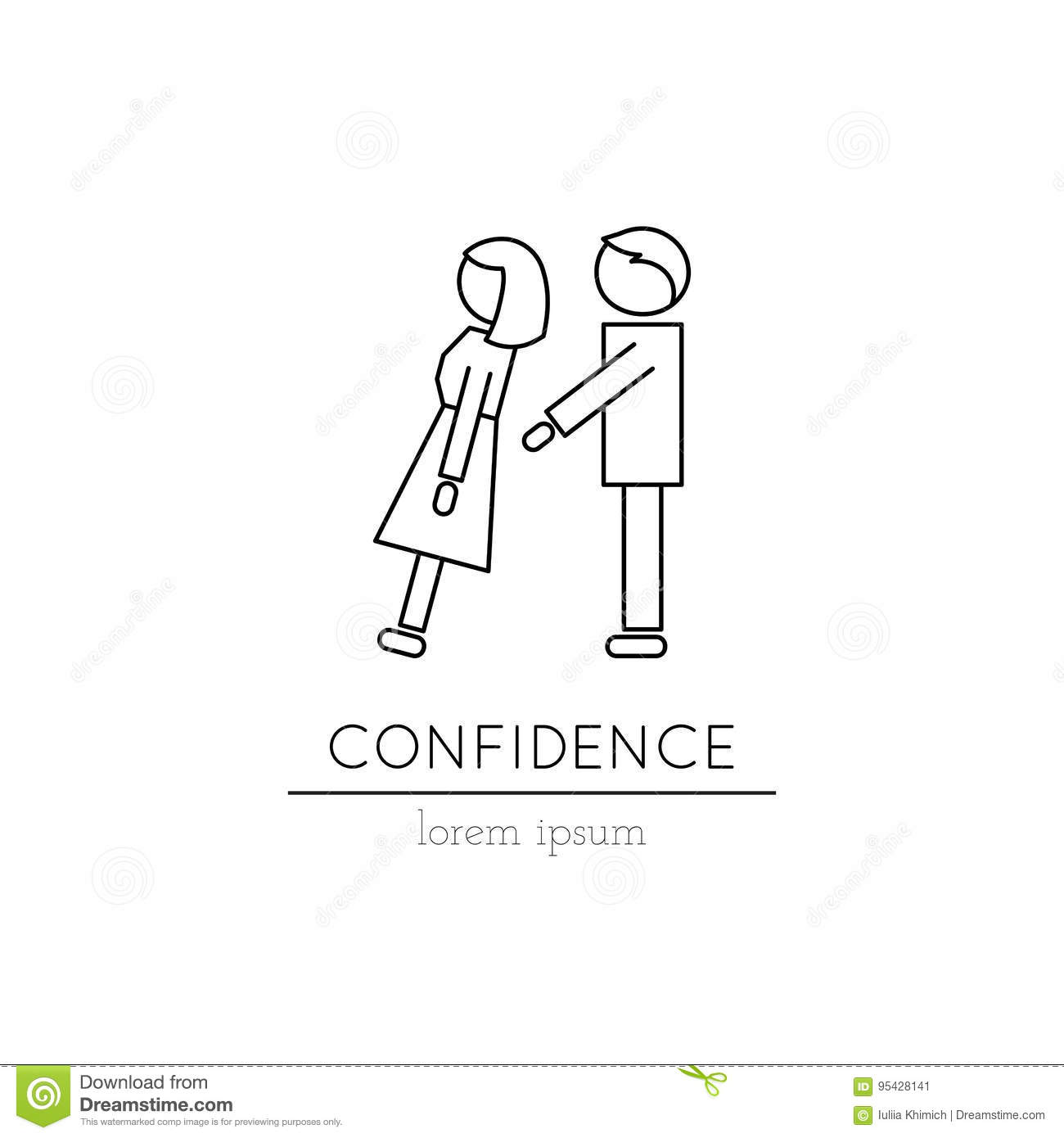 Confidence line icon stock vector. Illustration of