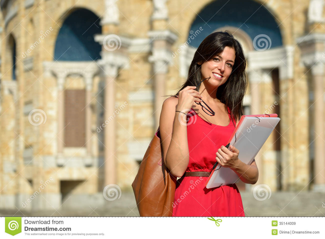 hight resolution of confident female college student