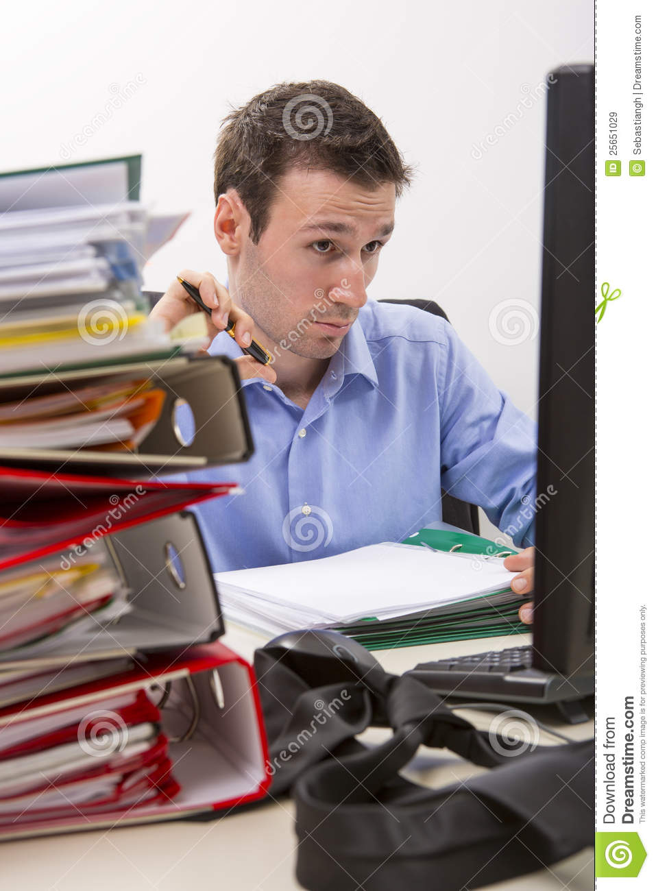 Confused Accountant At Work Stock Image  Image of