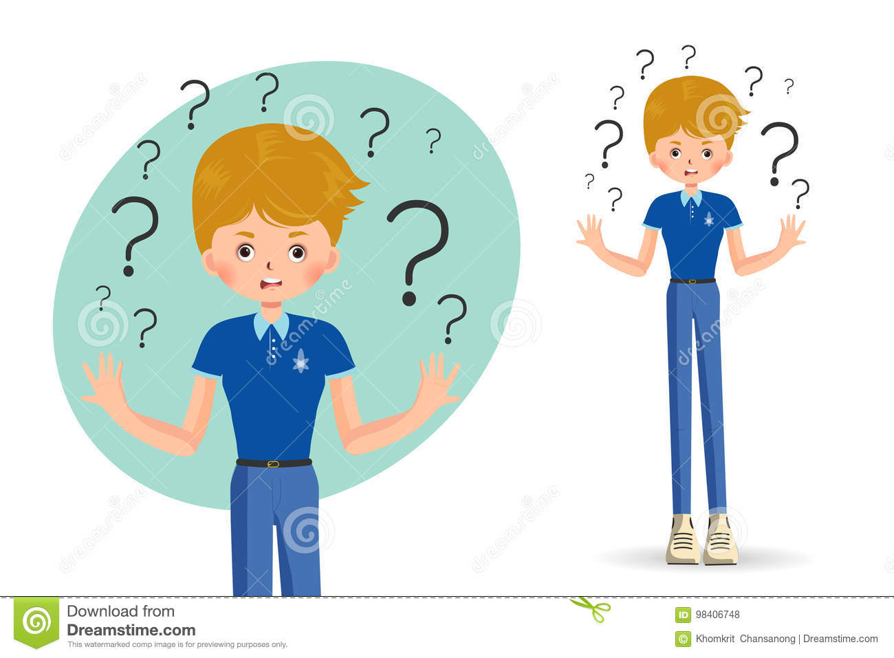 Confused Child Shrugging Shoulders Stock Vector